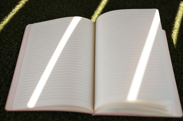 緑の芝生の上の空白の縞模様の日記