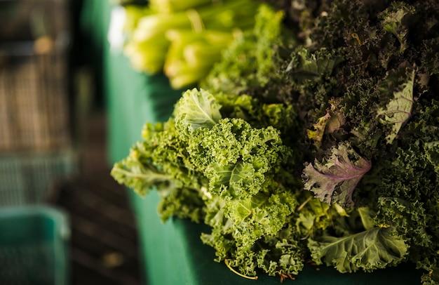 新鮮な有機ケールのクローズアップは、市場での販売のための野菜を残します