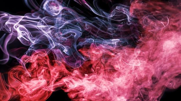 黒い背景にダブルトーンの波状の煙