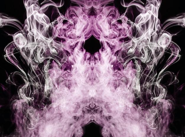 黒の背景にピンクの波状煙