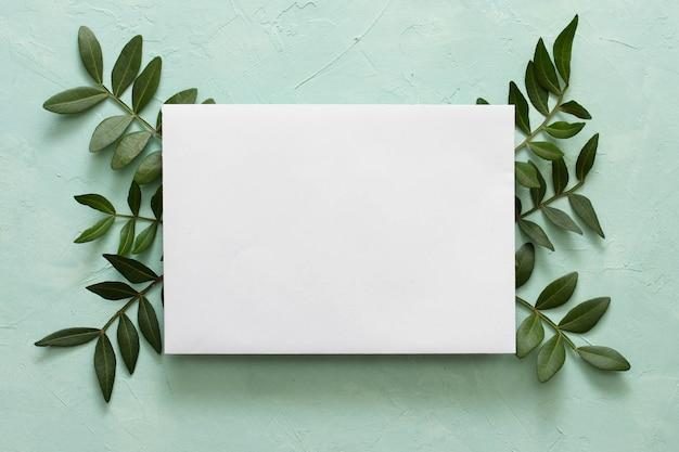 織り目加工の背景の上の緑の葉の空白のホワイトペーパー