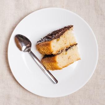 チョコレートケーキのトップビュー作品