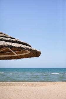 Закройте пальмовый зонт на берегу моря