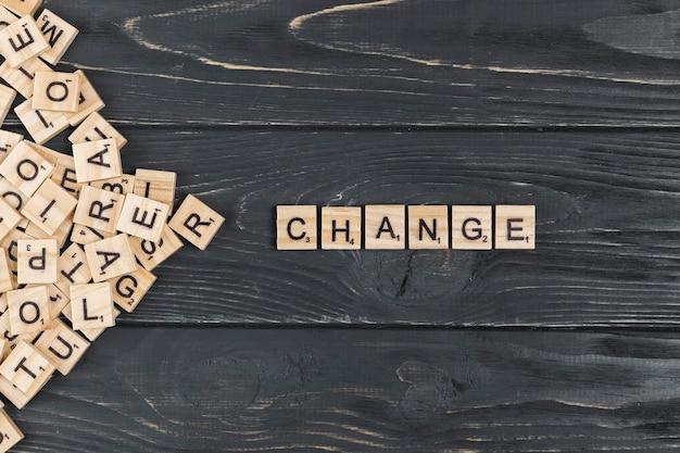 木製の背景上の単語を変更します