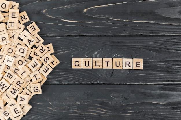 木製の背景上の文化の言葉