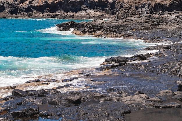 野生のビーチでロングショットの結晶水
