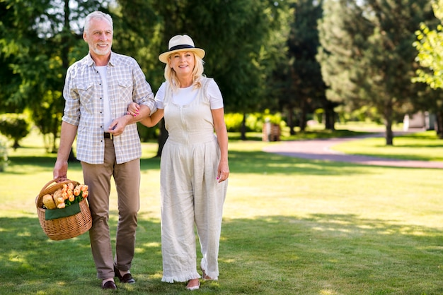 甘いカップル、草の上を歩く