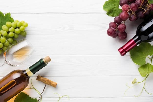 コピースペースで赤と白ワイン