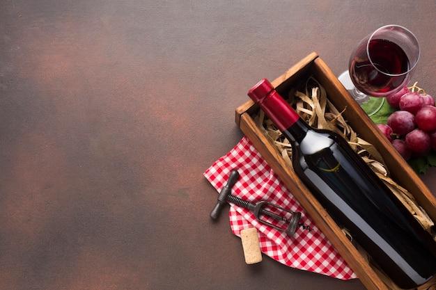 コピースペース赤ワインとビンテージ背景
