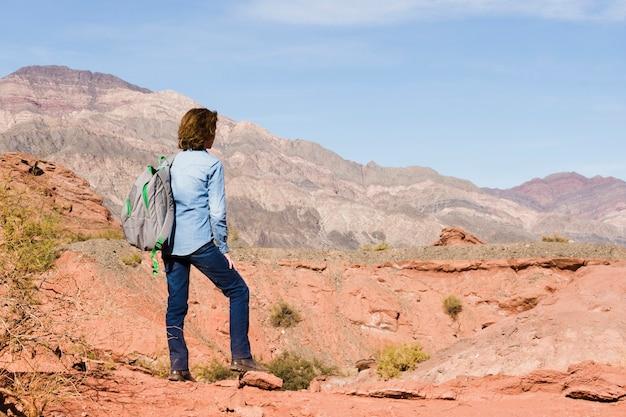 山の風景を楽しんでいるバックパックを持つ女性