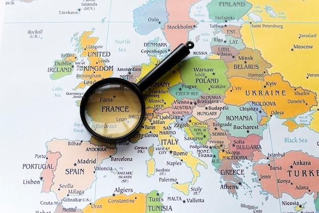 ヨーロッパの地図上のフランスの国