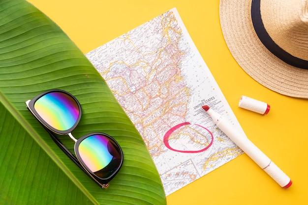 フロリダ州が地図上にマーク