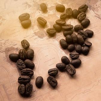 コーヒー豆とドイツの地図