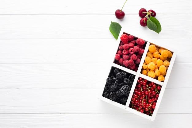 Плоские свежие ягоды с копией пространства