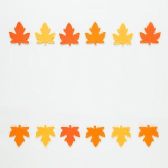 Вид сверху осенние листья с копией пространства