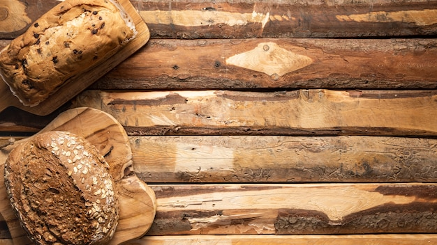 焼きたてのパンとフラットレイアウトフードフレーム