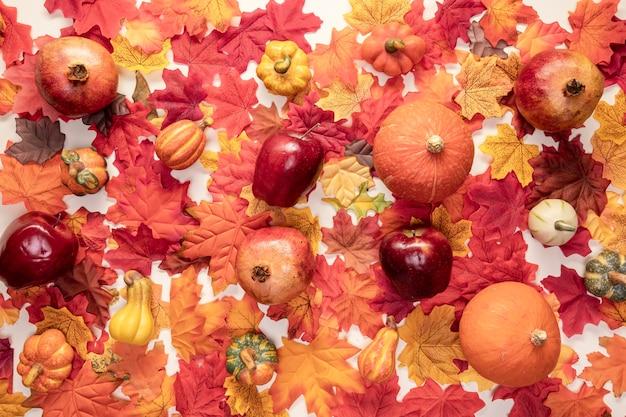 フラットレイアウト食品配置の葉の背景