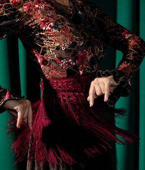 クローズアップの美しいフラメンコドレス