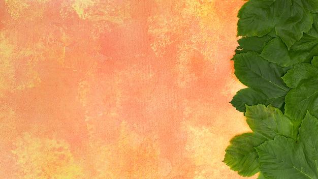 オレンジ色の背景に森の緑の葉
