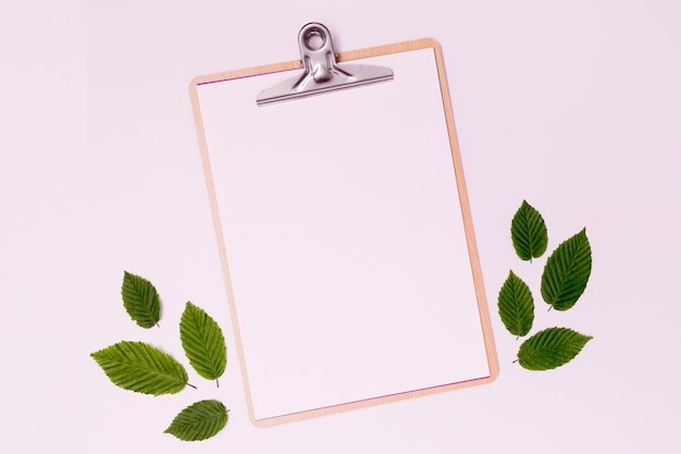 単純な空のクリップボードと葉