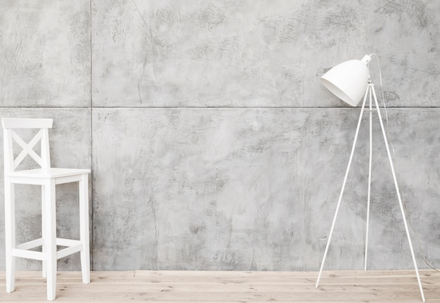 Минималистский белый торшер и табурет с бетонными панелями