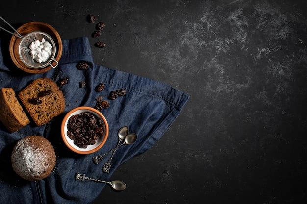 Вкусное расположение хлебобулочных конфет
