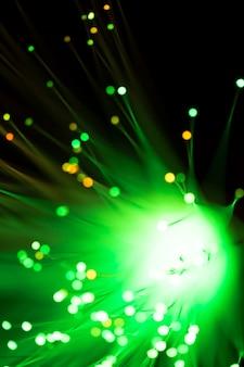 緑色の弦光ファイバーライト