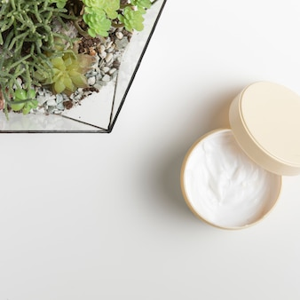 白い背景の自然の要素を持つボディバター