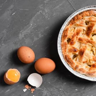パイと卵のクローズアップ