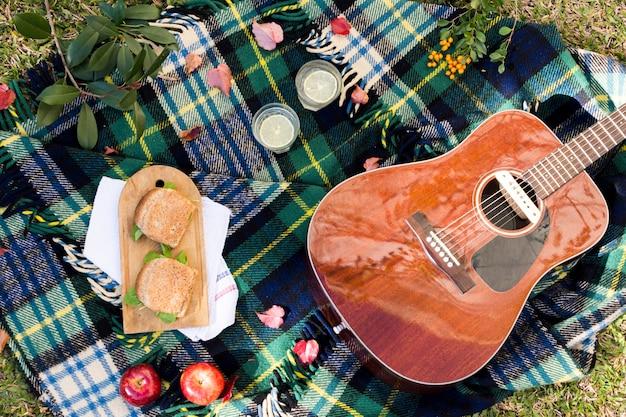 Вид сверху на пикник с акустической гитарой