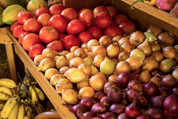 コスタリカの市場で販売される有機野菜