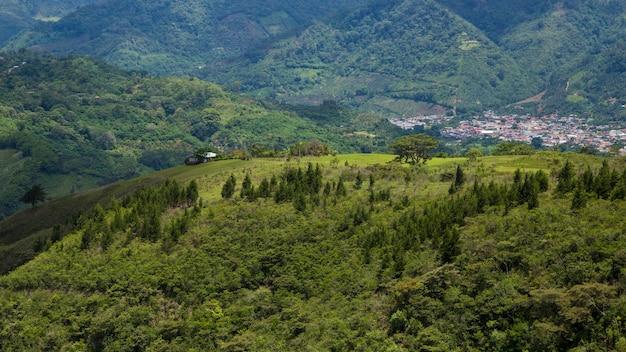 なだらかなコスタリカの丘と熱帯雨林