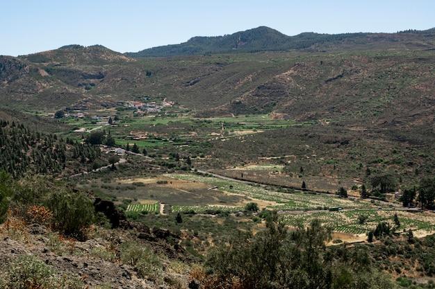 明確な空と緑の谷の風景