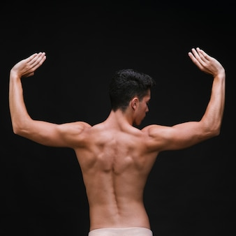 筋肉の腕と背中で上半身裸のバレエダンサー
