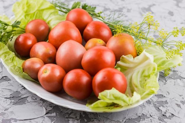 トマト収穫のクローズアップ