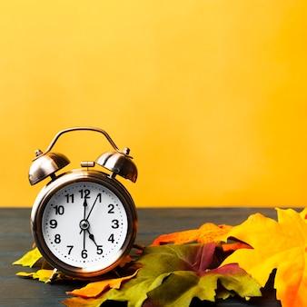 黄色の背景と正面の秋の装飾