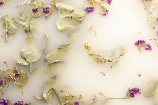Плоские кладут маленькие фиолетовые цветы в воду белого цвета