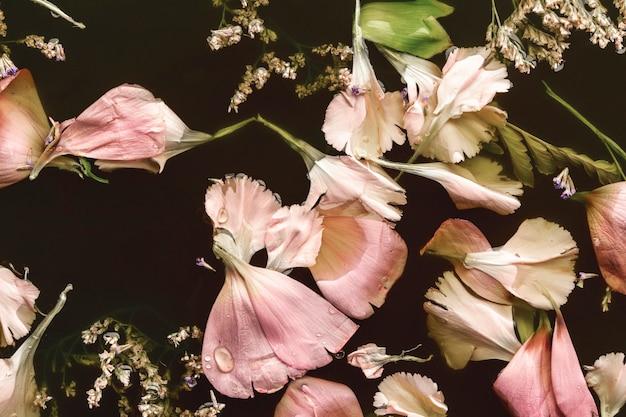 フラットは黒い水に美しいピンクの花を置く