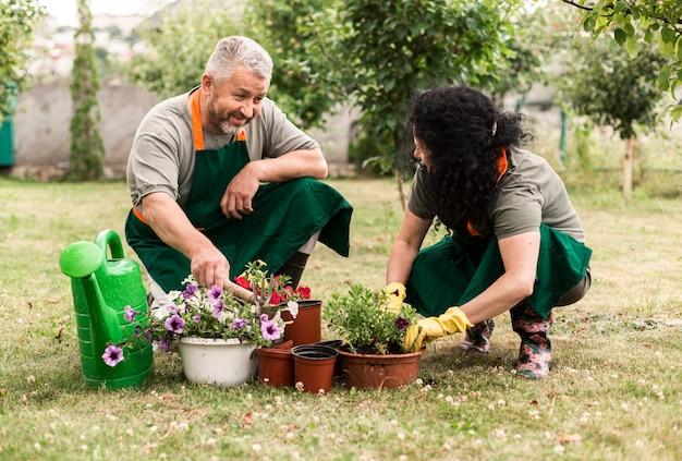 Пожилая пара ухаживает за цветами