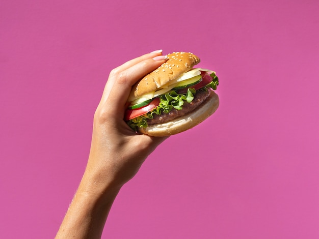Американский бургер с листьями салата на розовом фоне