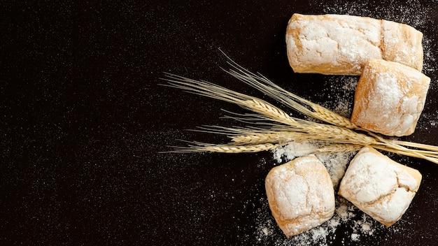 小麦と空間の背景をコピーします