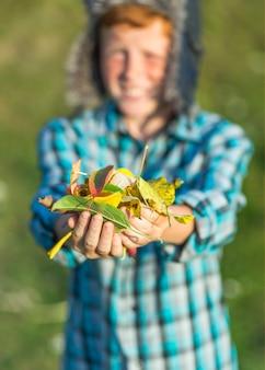 秋の葉を保持しているクローズアップ手