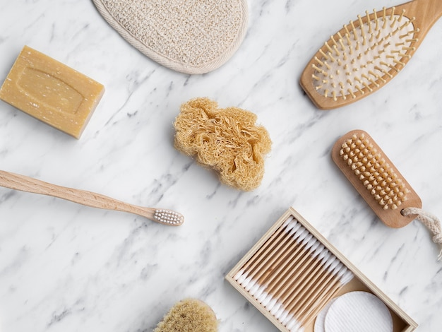 ブラシと石鹸の上面図の配置