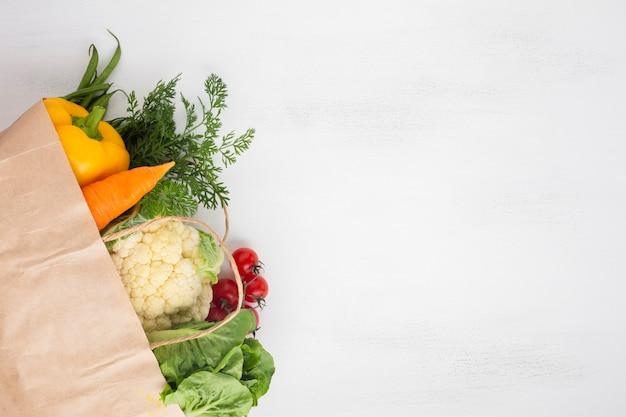 コピースペースを持つ食料品袋のレイレイ