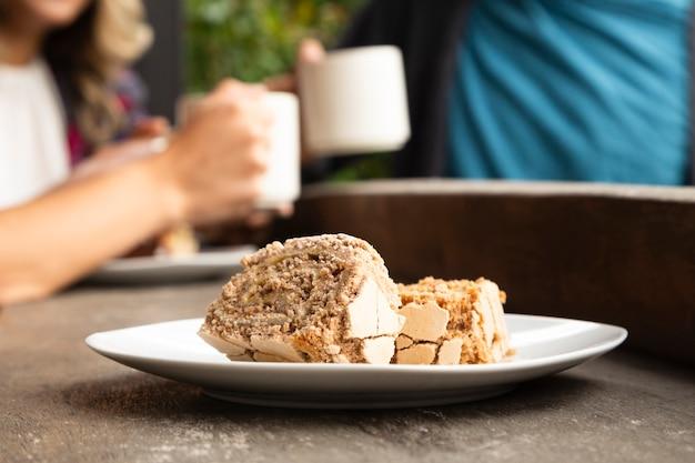 コーヒーショップのお菓子のクローズアップ