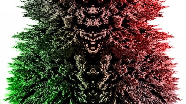 白い背景に照らされた緑と赤の磁性金属シェービング