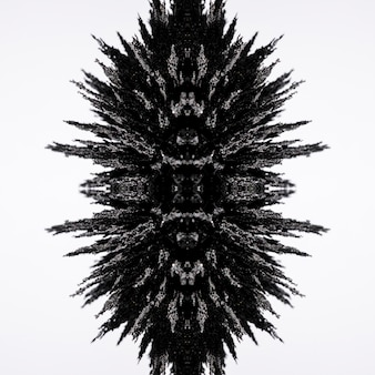 白い背景に分離された万華鏡磁気金属シェービングデザイン