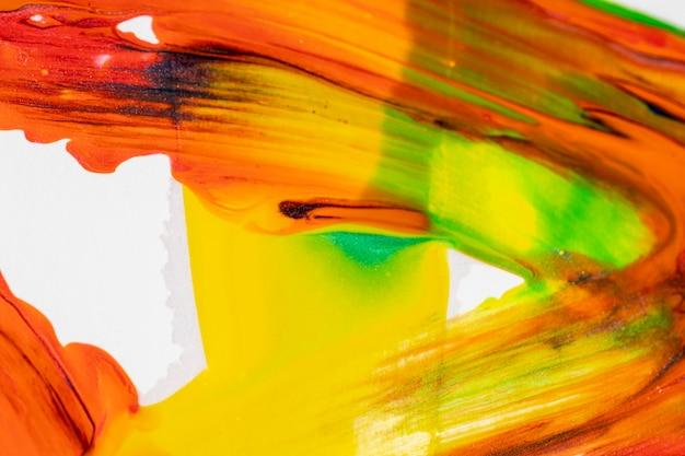 オレンジと黄色の混合塗料を塗った