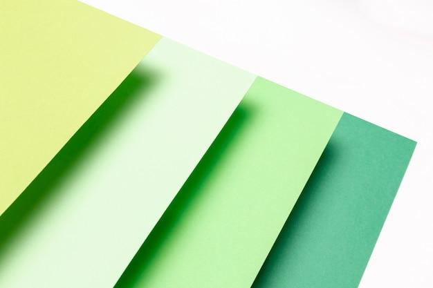 フラットは、緑のパターンのクローズアップのさまざまな色合いを置く