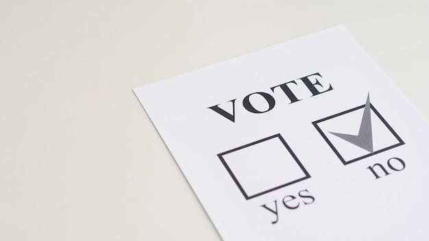 高角度の国民投票の選択